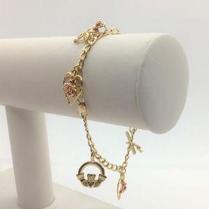 """Jewelry - 14k Gold Curb Link Charm Bracelet w/ 5 Charms 6.5"""""""